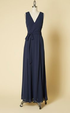 Celebrate your bestie and her beloved by making your procession in this elegant, navy maxi dress! Boasting a surplice neckline above a sash-tied waist, hidden side pockets, and a flowy skirt, this chiffon bridesmaid gown from our ModCloth namesake label a Plus Size Maxi Dresses, Nice Dresses, Dresses With Sleeves, Formal Dresses, Amazing Dresses, Burgundy Maxi Dress, Navy Maxi, Chiffon, Maxi Wrap Dress