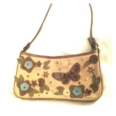 "Nordstrom Purse Retro Genuine Suede Butterflies Very good, clean condition.  One interior slip pocket and one interior wall zip pocket.  Small bag, measures approx 10"" width, 5"" tall, strap drop approx 8"". Such a fine find!  Nordstrom Bags Mini Bags"