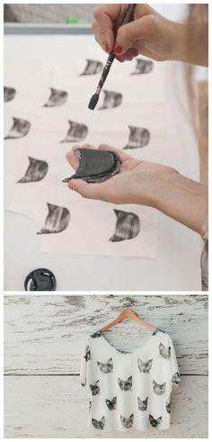DIY stamped cat top