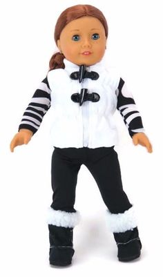 "White Quilted Vest,Striped Top & Black Pants for 18"" American Girl Doll Clothes #Unbranded"