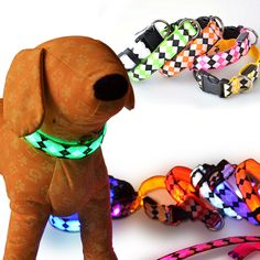 Hot sales luminescent rhombus LED Nylon Dog Collar flash cat dog harness Pet Supplies Christmas Accessories Free shipping