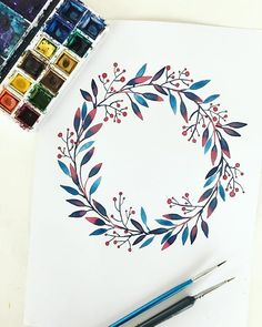 Aquarell Kranz – Frisuren – - Rebel Without Applause Wreath Watercolor, Watercolor Cards, Watercolour Painting, Watercolor Flowers, Painting & Drawing, Watercolors, Painting Inspiration, Art Inspo, Art Sketches