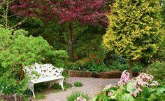 Den sköna känslan av att befinna sig i en park i miniatyr på en vanlig villatomt får man hemma hos familjen Walderö i Kungsängen. Bakom står en hänkaragan knotig av ålder. Purpurapeln blommar i rött, tujan står för den gula färgen.