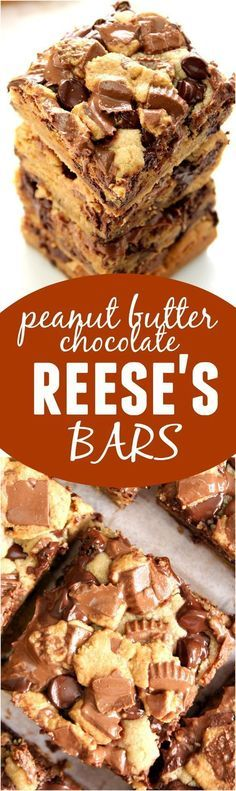 Peanut Butter Chocolate REESE'S Cookie Bars - gooey, sweet and buttery! Quick and easy treat for peanut butter cup lovers. cups of peanut butter cups) Brownie Recipes, Cookie Recipes, Dessert Recipes, Bar Recipes, Recipies, Brownie Desserts, Barres Dessert, Peanut Butter Desserts, Resses Peanut Butter Cups