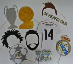 Items similar to Real Madrid inspired Photo Booth Props Mustache on a stick Soccer fut ball Gold cup champions league fifa Ballon d'Or Cristiano Ronaldo on Etsy Soccer Birthday Parties, Football Birthday, Soccer Party, Sports Party, Birthday Party Themes, 8th Birthday, Birthday Ideas, Real Madrid Photos, Football Themes