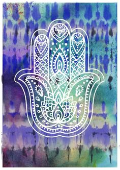 Hamsa Hand hippie style #2 - Wall art dorm decor poster print - Karma religious…