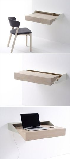 Desk Box: shelf/wooden secretary, design from Raw Edges (Arco). | Plank/hangend houten schrijfbureautje.
