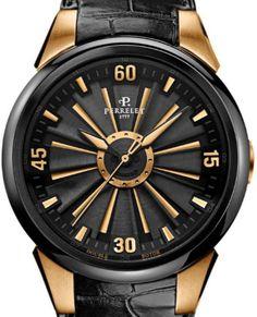 A8080/1 Perrelet Turbine Black and Gold Special Edition - швейцарские мужские часы наручные, стальные, золотые черные