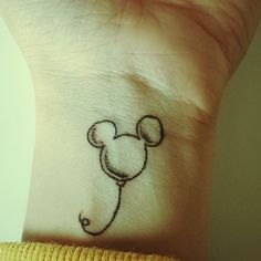 Mickey Balloon | 35 Wonderful Tattoos For Disney Fan(atic)s---ohhhhh good Disney tattoo idea!!