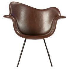 Carlo Hauner; Leather and Enameled Iron Arm Chair, 1960s.