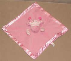 Giggle Baby Pink White Stripe Giraffe Security Blanket Lovey Satin Trim JCP Girl #ManhattanToy
