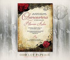 Red Rose and Black Lace Quinceanera Invitations by OddLotPaperie