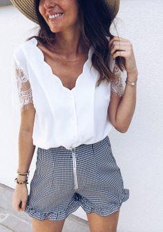 Summer Women Elegant Leisure Lace Blouse Female Stylish Fashion Top V-Neck Solid White Black Casual Shirt White Chiffon Blouse, Chiffon Shirt, Chiffon Blouses, Lace Sleeves, Shirt Sleeves, Black Casual Shirt, Shirt Blouses, Tee Shirts, Spring Shirts