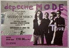 Support to Depeche Mode on their Devotional Tour at Crystal Palace 1993