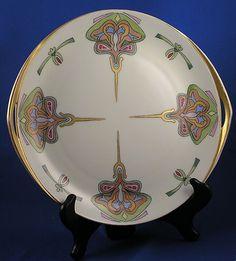 "Rosenthal Donatello Selb Bavaria Art Nouveau Handled Plate (Signed""F. Ott. Bovee""/c.1912-1945) - Keramic Studio Design"