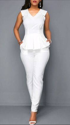 V Neck Sleeveless White Peplum Jumpsuit Women Clothes For Cheap, Collections, Styles Perfectly Fit You, Never Miss It! White Peplum, White Jumpsuit, Wrap Jumpsuit, White V Necks, White Outfits, Mode Outfits, African Fashion, Fashion Dresses, Fashion Clothes