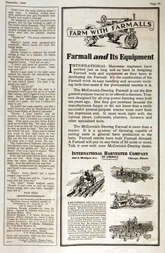 1928 Farmall Tractor & Equipement original vintage advertisement. Features the 2/4 row planter, 4 row cultivator, and the 7 ft. mower.
