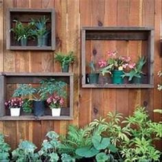 Flower Box Frames built from old wood.