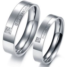 OPK Romantic Endless Love Couple Wedding Rings Pave CZ Promise Engagement Bands Stainless Steel Lover Valentine 's Gift - Dream Jewelry Place. Find Earring, Necklace, Rings and More. Stainless Steel Wedding Bands, Stainless Steel Rings, Promise Rings For Couples, Couple Rings, Promise Band, Engagement Bands, Engagement Jewelry, Solitaire Engagement, Womens Wedding Bands