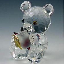 Swarovski Kris Bear Honey Pot Silver Crystal Figurine Rare Box MIB COA