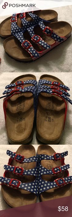 Birkis by Birkenstock American flag sandals sz36 Birkis by Birkenstock American flag sandals sz36.  Awesome American flag slide sandals with adjustable straps.  Excellent barely used condition.  Size 36 Birkenstock Shoes Sandals