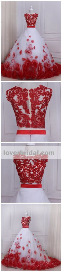 Two Pieces Red Lace Hand Made Flower A line Long Evening Prom Dresses, 17556