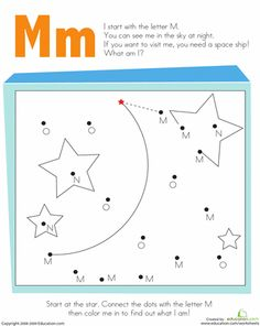 Worksheets: Letter Dot to Dot: M