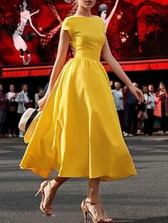 Gender: WomenMaterial: COTTONMaterial: PolyesterStyle: High StreetSilhouette: Ball GownPattern Type: SolidSleeve Length(cm): ShortDecoration: NoneDresses Length: Mid-CalfSleeve Style: REGULARWaistline: NaturalNeckline: O-NeckSeason: Summer Elegant Dresses, Pretty Dresses, Beautiful Dresses, Casual Dresses, Fashion Dresses, Formal Dresses, Sparkly Dresses, Cheap Dresses, Wedding Dresses