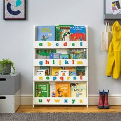 Make reading a joy with the award winning Tidy Books Children´s Alphabet Bookcase. The original kid's bookshelf designed by a mum, Montessori style. 3d Alphabet, Book Storage, Kids Storage, Childrens Bookcase, Tidy Books, Book Bins, Kids Library, Bookshelves Kids, Bookshelf Design