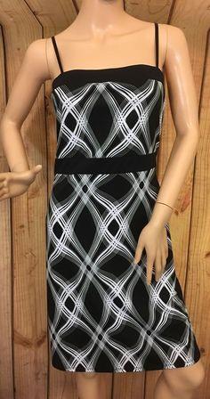 City Triangles Black White Plaids Check Speghetti Strap Stretch Dress Size M #CityTriangles #BeachDressSundress