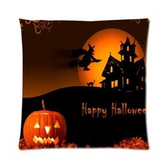 Happy Halloween Pumpkin Bat Moon House Soft Zippered Throw Pillow Case  Cover 16 By Pillow Fashiion