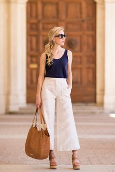Striped Silhouette: Ann Taylor wide leg pants, Brahmin 'Thelma' tote Tan Savannah, Stuart Weitzman 'Abandon' lace-up wedges, striped pants summer outfit, wide leg crop pants outfit, how to wear cropped wide leg pants