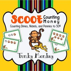 Have your kids swinging from desk to desk with this best seller fun Monkey MONEY Scoot. Test your students' MONEY knowledge UP TO 50 CENTS with single COIN cards, or MIX IT UP for an extra challenge. It can be used as a preview to see what your students already know about money or as a review of money or as an assessment after teaching how to count money to 50¢.