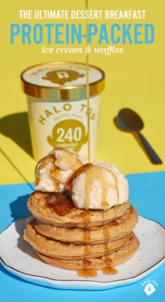 Breakfast doesn't have to be boring. Add scoops of healthy, protein-packed ice cream to your waffles or pancakes. Halo Top is an amazing tasting ice cream that's also low-cal, low-carb, and high protein! Check our Store Locator to find a pint near you! I Love Food, Good Food, Yummy Food, Healthy Protein, High Protein, Fitness Snacks, Healthy Desserts, Healthy Recipes, Frozen Desserts