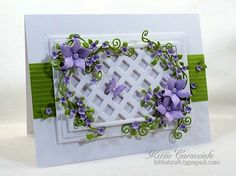 KC --Framed Lattice and Trailing Vines.My project today was made using the Taylored Expressions Lattice Cutting Plate, Arbor Accessories, Impression Obsession Bunch of Blossoms and Butterfly Set. The frame was cut using Nesting Card Templates. Heartfelt Creations Cards, Birthday Cards For Mom, Fun Crafts To Do, Pretty Cards, Card Tags, Paper Cards, Flower Cards, Creative Cards, Greeting Cards Handmade