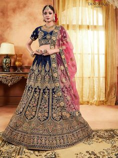Navy blue lehenga choli with dupatta. Work - Heavy embroidered with stone pannel and heavy border work. Matching choli and dupatta comes with this. Bridal Lehenga Online, Lehenga Choli Online, Bridal Sarees, Indian Lehenga, Silk Lehenga, Heavy Lehenga, Lengha Choli, Choli Designs, Lehenga Designs