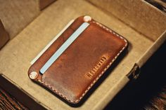 Rugged leather wallet / Slim Wallet/ Leather by northwardhandcraft