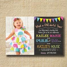 PRINTABLE Chalkboard First Birthday Invitation by creativelime