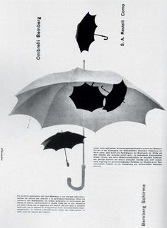 Umbrellas Black and White - Albe Steiner Graphic Design Layouts, Graphic Design Posters, Modern Graphic Design, Graphic Design Typography, Graphic Design Illustration, Graphic Design Inspiration, Graphic Prints, Design Art, Print Design