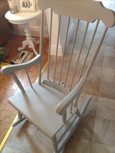 Shabby chic rocking chair, painted in Annie Sloan Paris Grey.
