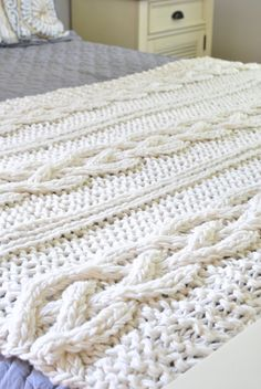 chunky cable knit blanket - WANT! Who can make this for me...no seriously who. Can. Make. This. For. Me?!