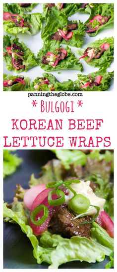 Korean Beef Lettuce Wraps: famously-delicious Korean Bulgogi beef enveloped in lettuce with some other goodies. A stellar appetizer or main course. Healthy Snacks For Diabetics, Super Healthy Recipes, Healthy Foods To Eat, Healthy Eating, Korean Lettuce Wraps, Beef Lettuce Wraps, Lettuce Cups, Korean Appetizers, Pizza Appetizers