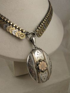 Exquisite Rare Victorian Tricolour Silver & 9ct Gold 'Daisy' Locket Collar Set - Full English Hallmarks  Blackwicks of London Exclusive to Ruby Lane  www.rubylane.com