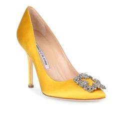 Manolo Blahnik Hangisi 105 Yellow Satin Pump ($985) ❤ liked on Polyvore featuring shoes, pumps, yellow, special occasion shoes, evening pumps, yellow high heel shoes, high heeled footwear and manolo blahnik shoes
