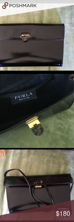 FURLA Handbag Vintage Really Lovely One-Of-a-Kind FURLA Handbag.  Black Leather in excellent condition. Long strap attaches for shoulder.  Sophisticated style.  Made in Italy. Bags Shoulder Bags
