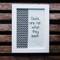 Excited to share the latest addition to my #etsy shop: Owls Are Not What They Seem: Twin Peaks series http://etsy.me/2FeKMVz #art #fibreart #black #white #twinpeaks #davidlynch #frame #embroidery #zigzag