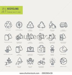 Thin line icons set. Icons for recycling, environmental. - stock vector