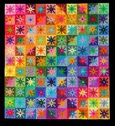 Rainbow Daisies by TootieFalootie on DeviantArt Cross Stitch Geometric, Cross Stitch Love, Cross Stitch Kits, Cross Stitch Designs, Cross Stitch Patterns, Bargello Needlepoint, Needlepoint Stitches, Needlepoint Pillows, Needlework