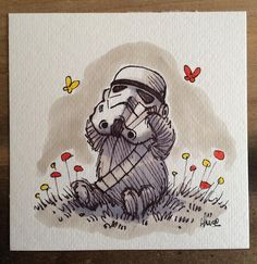 'Star Wars' Meets 'Winnie the Pooh' in These. - 'Star Wars' Meets 'Winnie the Pooh' in These Adorable Mashup Drawings Star Wars Quotes, Star Wars Humor, Robin Drawing, Star Wars Nursery, Drawing Stars, Star Wars Drawings, Diy Bebe, Star Wars Wallpaper, Star Wars Baby
