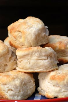 Buttermilk Biscuits Recipe ~ Says: My secret is to roll the dough extra thick, which results in huge, fluffy biscuits that cry out for butter and jam. If you don't have a cutter deep enough to handle a full inch of dough, a clean aluminum can or straight-sided juice glass works, too.